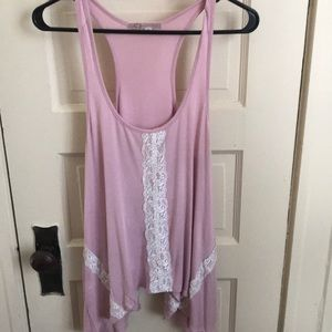 Soft pink with white lace tank top!